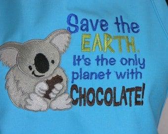 Save the Earth Chocolate Koala Embroidered Apron