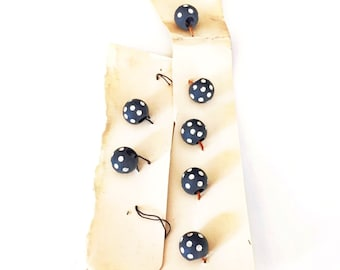 Set of 8 Vintage Black with White Polka Dot Buttons