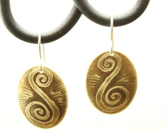 Handmade earrings, etched brass earrings, sterling silver, mixed metal earrings, unique handmade jewelry, earrings, unique jewelry