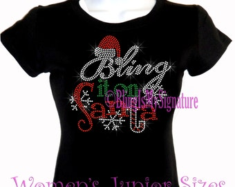 Bling it on Santa - Iron on Rhinestone T-Shirt - Claus Merry Christmas Transfer Shirt Top