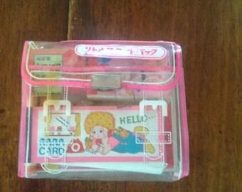 Kawaii vintage japan stationery set, Hello Rara stationary bag with memo, pencils, crayons, eraser