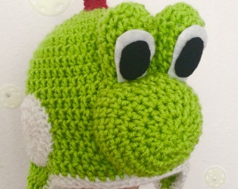 Crochet Yoshi Beanie/ Photography Prop/Any size/ Made to Order