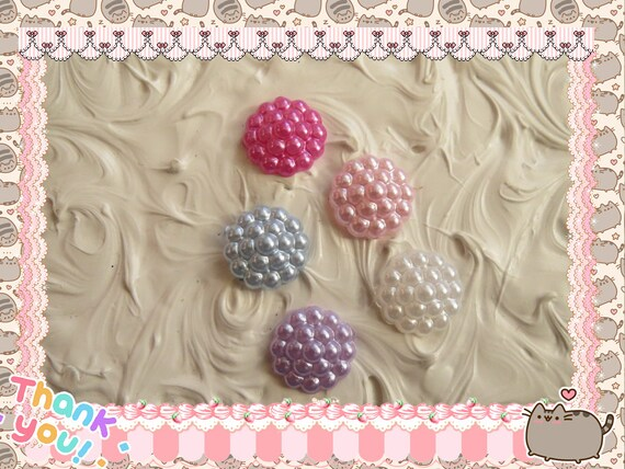 0: )- CABOCHON -( Pearl Candy Round Drops Snow Caps