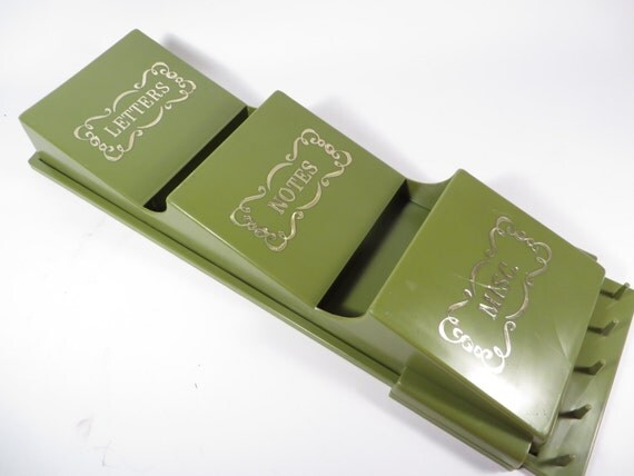 Vintage Avocado Green Plastic Wall Organizer Bills Letters