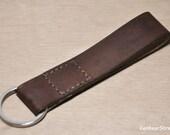 Handmade leather keychain, leather key fob, leather keyring, dark brown key chain