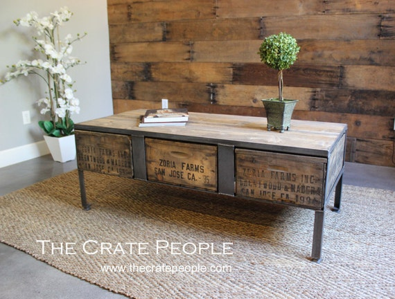 free shipping 3 drawer zoria crate coffee table vintage