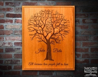 Engraved Family tree on solid wood