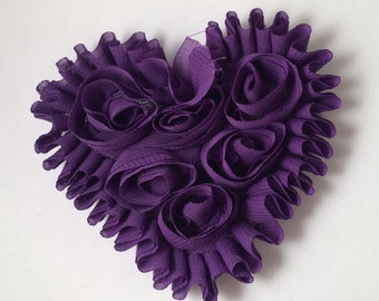 Set of 2 Purple Chiffon Heart Applique