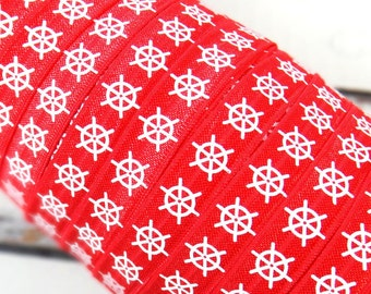 "White Nautical Ship Wheels on Red 5/8"" Fold Over Elastic - 1, 3 or 5 Yards"