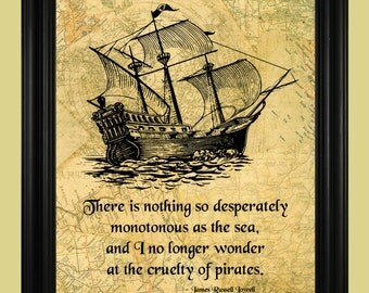 Pirate Ship Illustration, Vintage Sailboat Art Print, Pirate Quote, Sailing the Open Seas