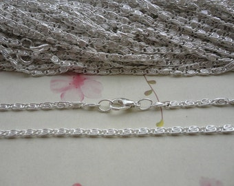 20pcs 42cm shiny silver plated Metal Link Necklace Chain 2.0mm--MN190