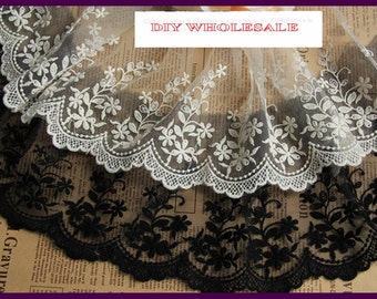 15cm width 2 yards  Black/white embroidered cotton LaceTrim / DIY garments Lace Bridal, Floral,Sewing,Fabric