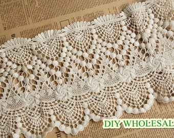 Width 18cm exquisite water soluble cotton embroidery lace DIY 100% Cotton Venice Water Soluble Ultra Wide Lace Trim 1 yard