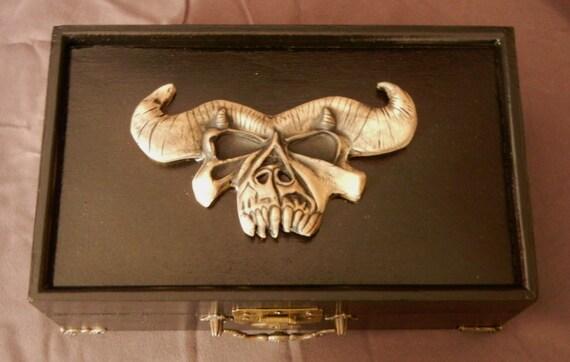 Danzig Skull Red Velvet Lined Jewelry Box Wood Amp Ceramic