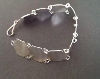Vintage Sterling Silver Flat Square Linked Bracelet