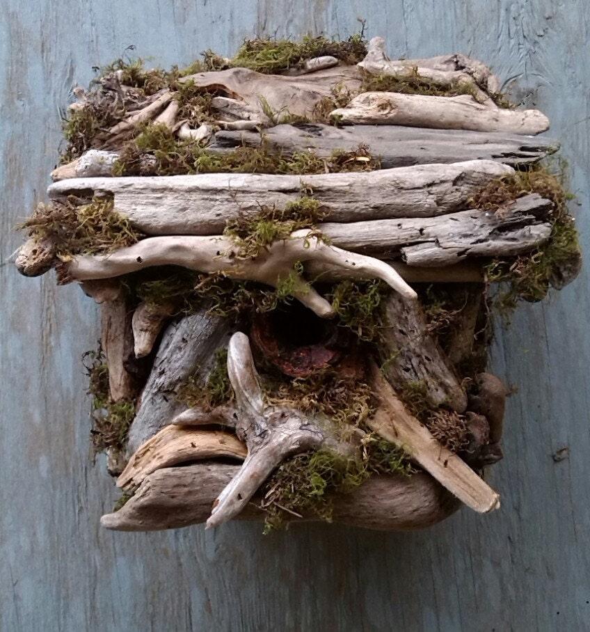 Driftwood birdhouse hand made garden decor outdoor yard art Driftwood sculptures for garden