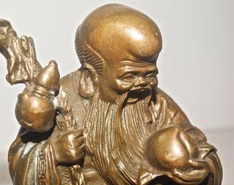 Vintage God of Longevity Bronze Figurine, Chinese Deity Bronze Statue, Feng Shui Statue