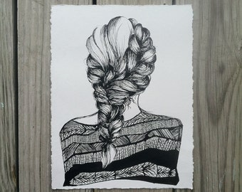 Braid Drawing, Pen and Ink Braid Detail, Detail Fashion Illustration