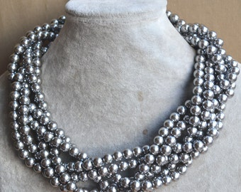 gray pearl necklace. glass pearl  Necklace,6rows necklace, Pearl Necklace,Wedding Necklace,bridesmaid necklace,Jewelry