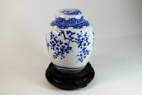 SALE!  Vintage Blue and White Porcelain Prunus Blossom Chinese Ginger Jar