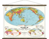 The World Physical - Pull Down Wall Chart