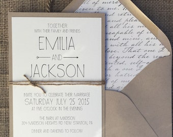 Rustic Modern Chic Wedding Invitation, Simple & Elegant
