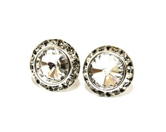 Clear Crystal 13mm Silver Stud Earrings made with Swarovski Crystal Elements