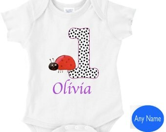 ladybug 1st birthday outfit - your childs name on this bodysuit