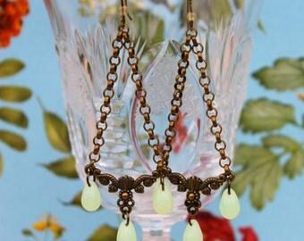 Chandelier Earrings,Czech Glass Chandelier Earrings,Antique Bronze Earring,Czech Glass Teardrops Earrings,Pendant Earrings