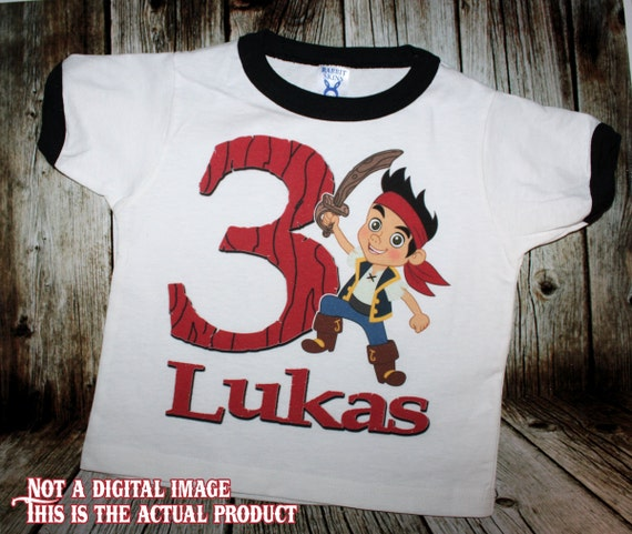 Jake and the Neverland Pirates Birthday Black or Red Ringer T Shirt - Personalized Custom - Izzy, ahoy, matey, captain, jack
