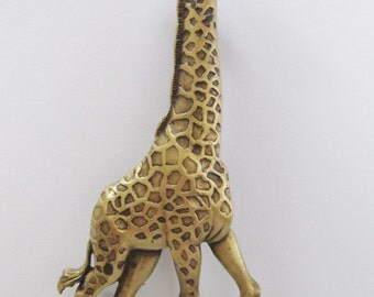 Majestic JJ Jonette Bronze Pewter Tall Standing Giraffe Brooch Pin