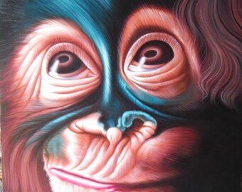 "Monkey painting oil painting on canvas 32""X40"""