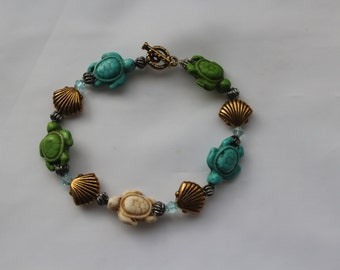 Turquoise and Green Turtle Bracelet