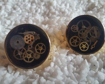 1 Inch (25mm) Gold IP Steampunk Plugs - Double Flare - set A6