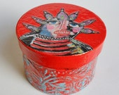 Red Trinket Box - Art Trinket Box - Funky Trinket Box - Red Jewelry Box - OOAK Trinket Box - Red Keepsake Box -  Folk Art Box - BeatriceM