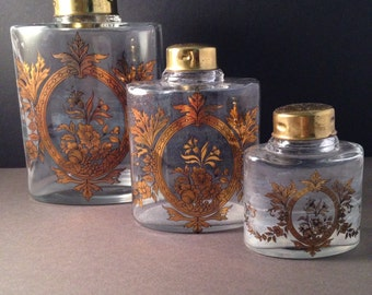 Vintage French Set of 3 Bootle Glass Perfume