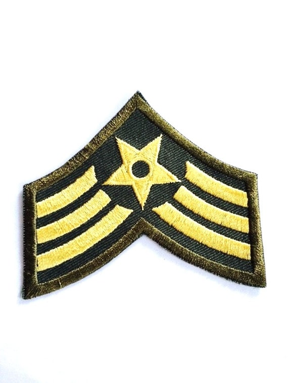 Green gold stripes MILITARY army uniform chevron star Embroidered iron ...