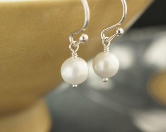 Pearl earrings, silver earrings, simple earrings, bridesmaids gifts, sterling silver, drop earrings