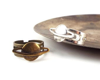 Planet Saturn Ring Space Jewelry - Silver Plated or Antiqued Brass