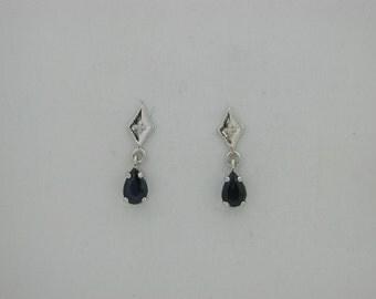 Natural Sapphire Diamond Dangle Earring 14kt White Gold