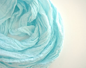 Seaglass Scarf, Pastel Aqua Scarf, Aqua Cotton Scarf, Blue Cotton Scarf, Hand Dyed, Lightweight Spring Summer Gauze, Large Scarf, Extra Long