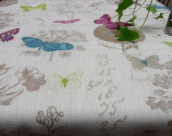 Square linen tablecloth. Natural linen table cloth. Rustic linen tablecloth with butterflies, linen spring floral