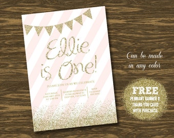 Pink and Gold Birthday Invitation - Printable - FREE pennant banner and thank you card with purchase