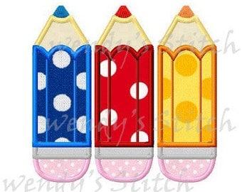 Three school pencils applique back to school machine embroidery design