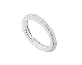 14K Solid White Gold Eternity Pearl Ring MLSS078S