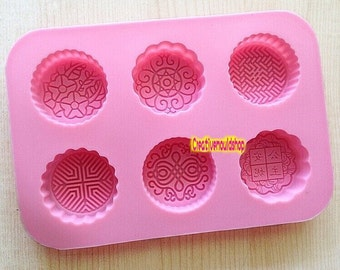 6-cavity  Round moon cake mold soap mould Flexible Silicone Mold Polymer Clay Mold  Baking mold bath bomb mold  soap making