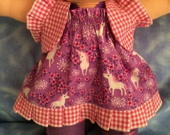"Waldorf Doll - 15""  Sun Dress and Jacket with pink leggings and shoes"