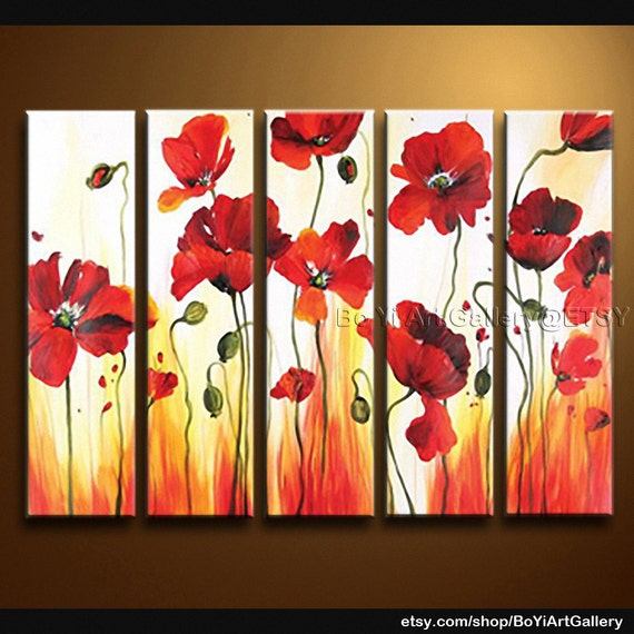 "Original Landscape Art Modern Oil Paintings Huge Contemporary Wall Art Poppy Flower 54"" x 32"""