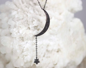 925 Sterling Silver Crescent Moon & Star Necklace,Silver Jewelry,Birthday Gift