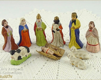 Vintage Estate Small Size Vintage Nativity Figures From Germany  (Inventory #CH1374)